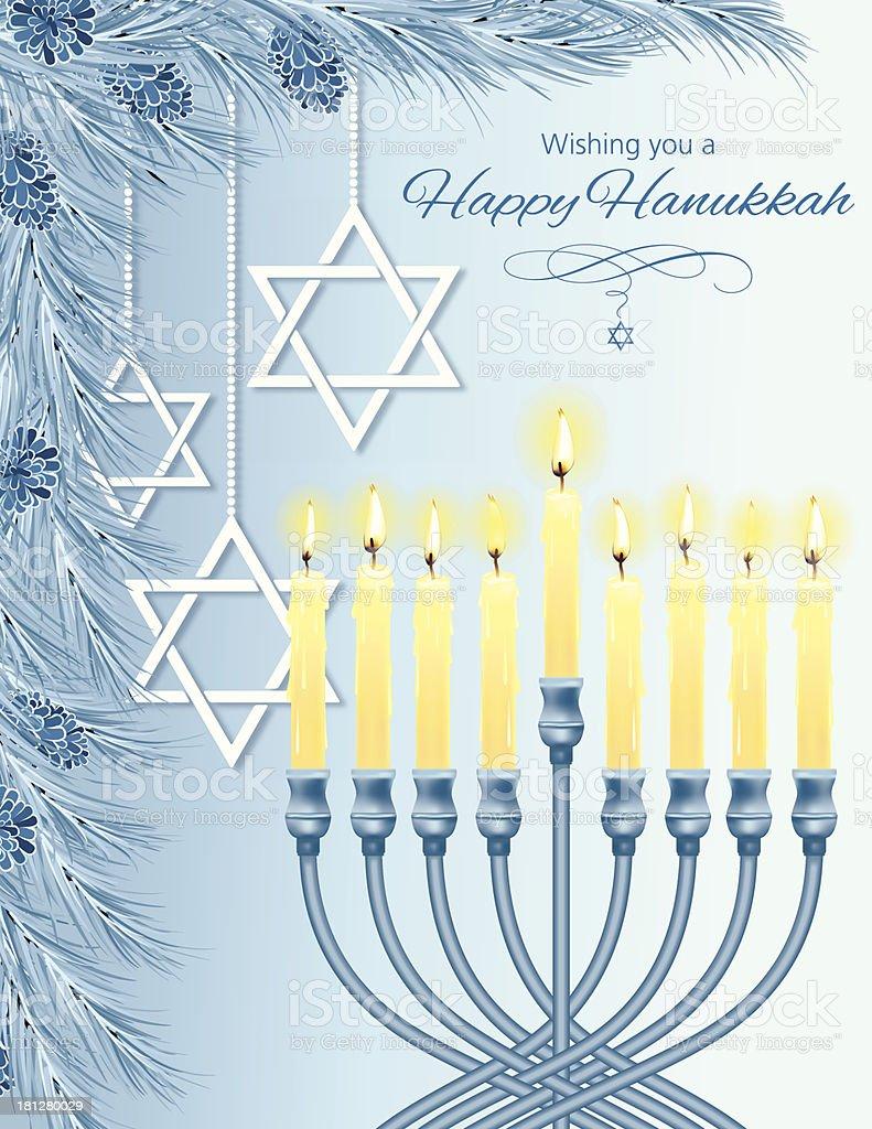 Hanukkah Menorah Card vector art illustration