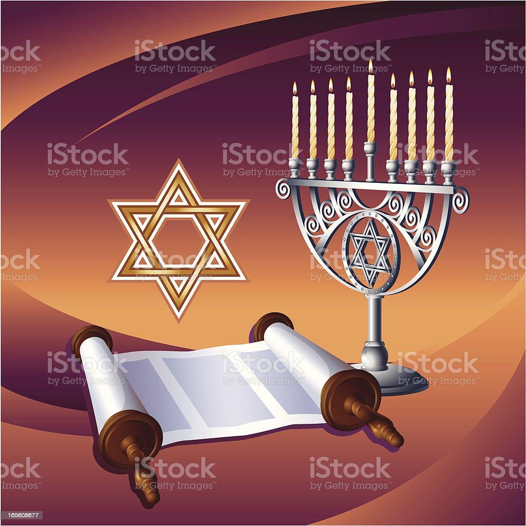 Hanukkah, menorah, torah royalty-free stock vector art
