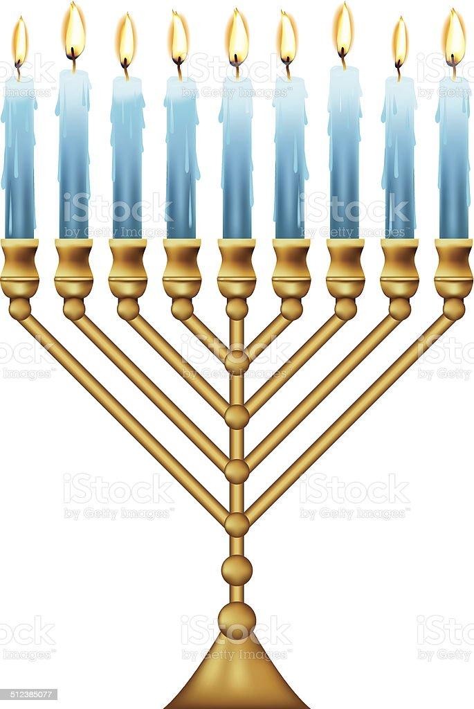 Hanukkah Menorah With Blue Candles vector art illustration