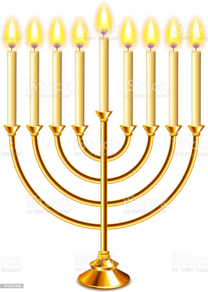Hanukkah menorah with candles isolated vector vector art illustration