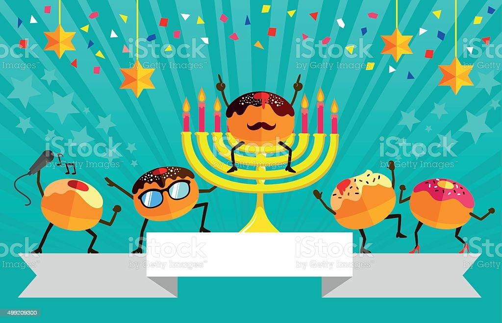 Hanukkah party vector art illustration