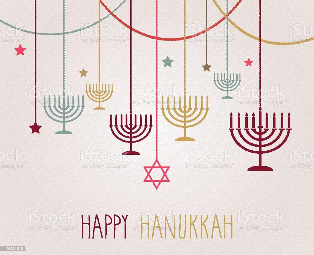 Hanukkah poster. Hanging colorful menorah vector art illustration