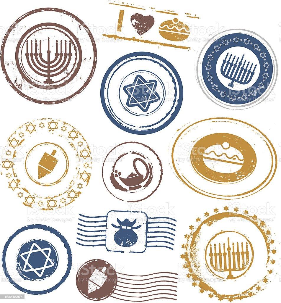 Hanukkah Rubber Stamps royalty-free stock vector art