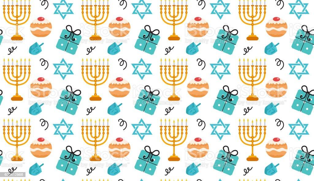 Hanukkah seamless pattern. Hanukkah background with Menorah, Sufganiyot vector art illustration