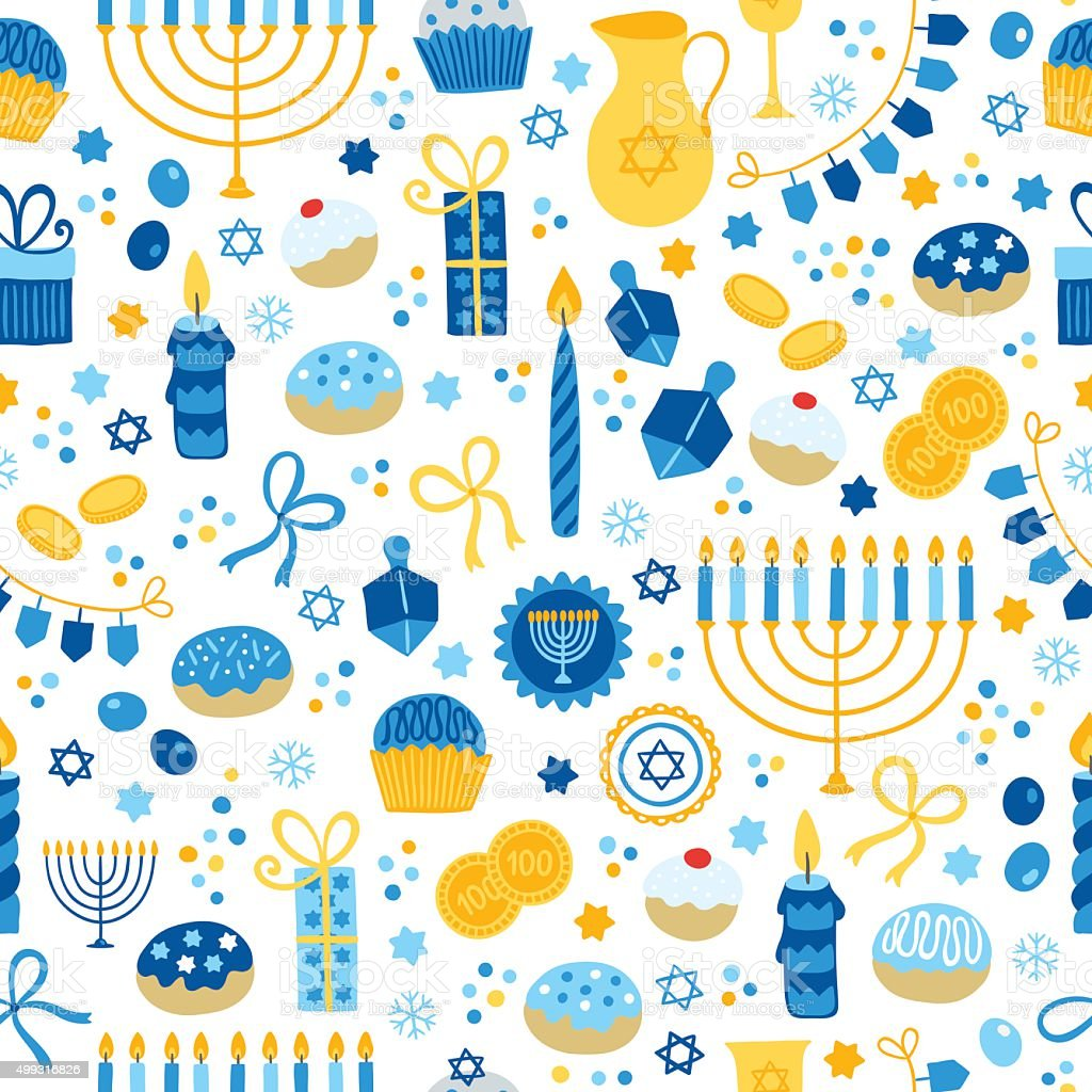Hanukkah seamless pattern with menorah, candles, donuts, garland, bow, cupcake vector art illustration