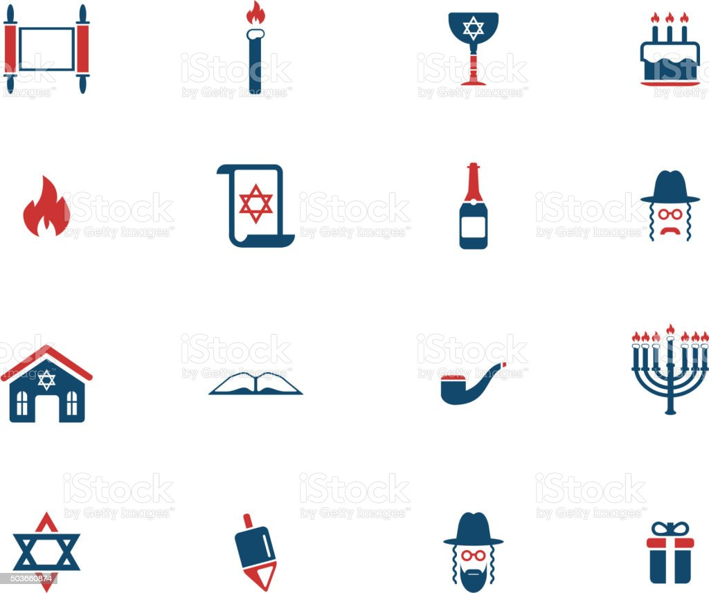 Hanukkah simply icons vector art illustration