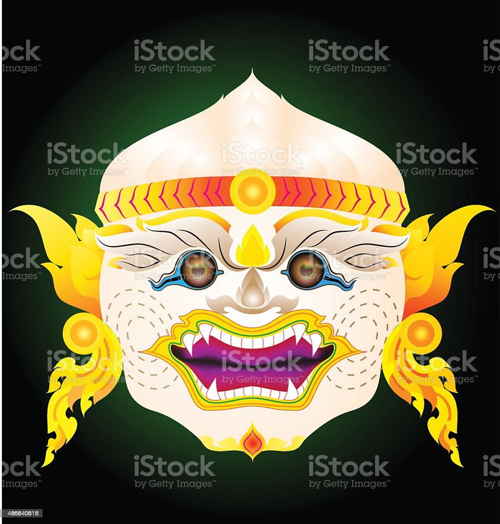 hanuman actor's mask vector art illustration