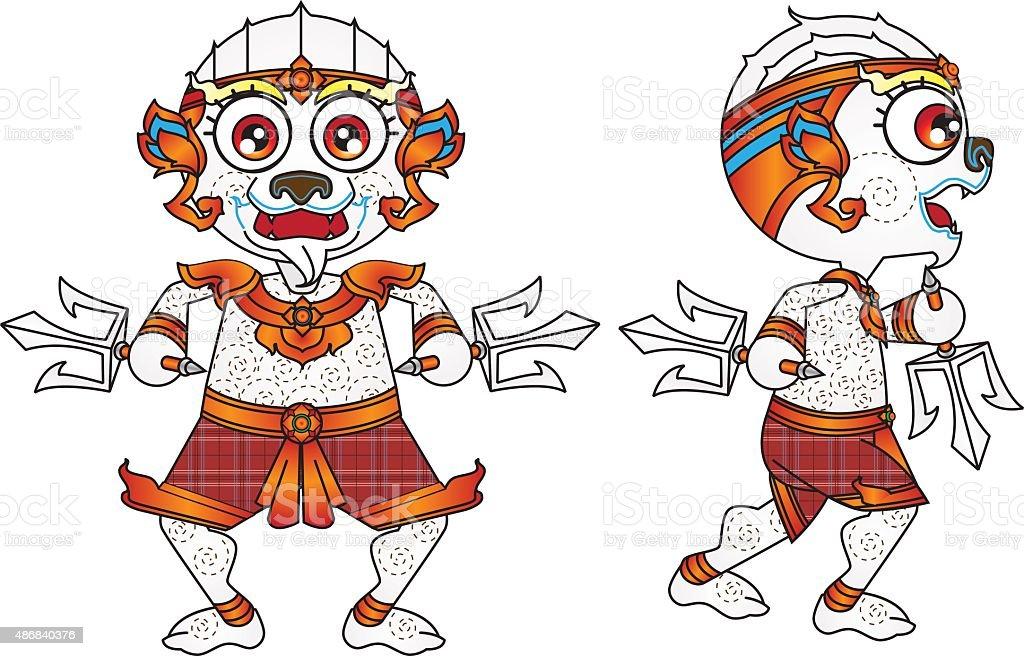 hanuman cartoon vector art illustration