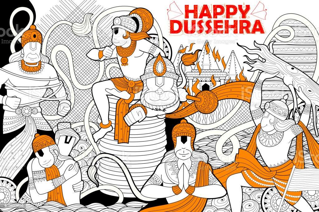 Hanuman doodle for Happy Dussehra Navratri festival of India vector art illustration