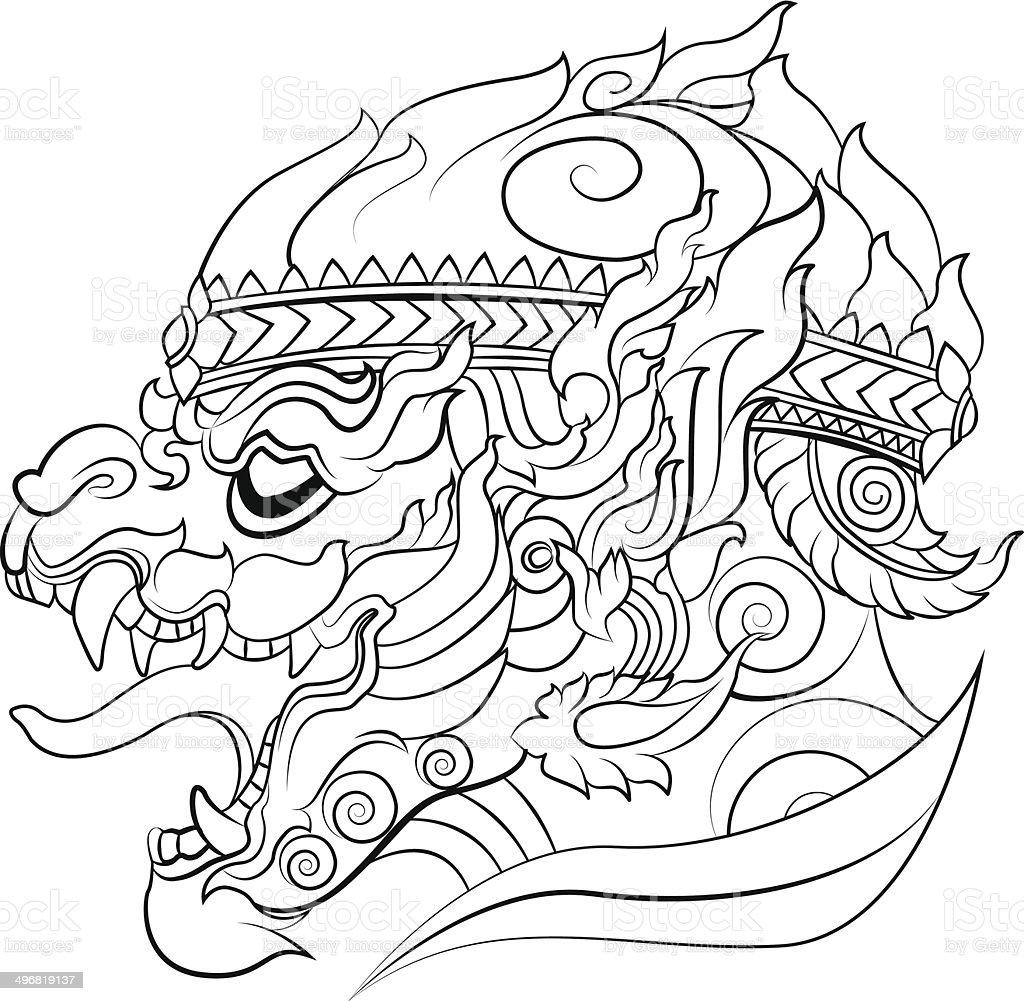 hanuman new Thai art style vector vector art illustration