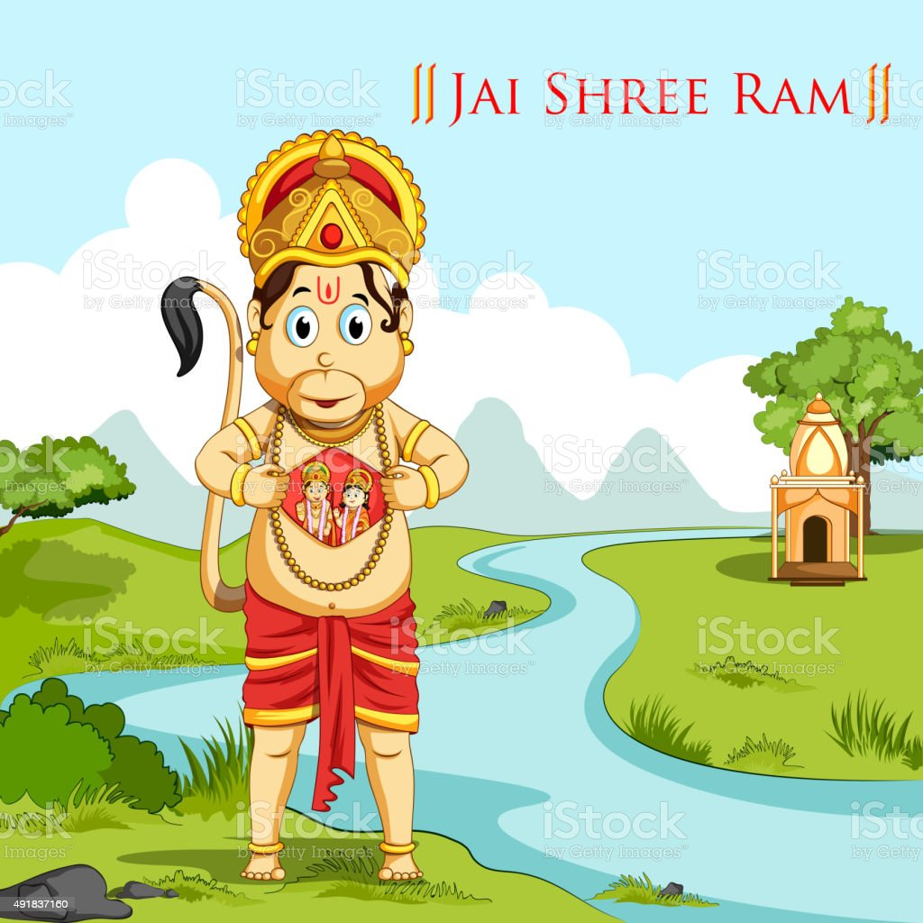 Hanuman showing Lord Rama and Sita vector art illustration