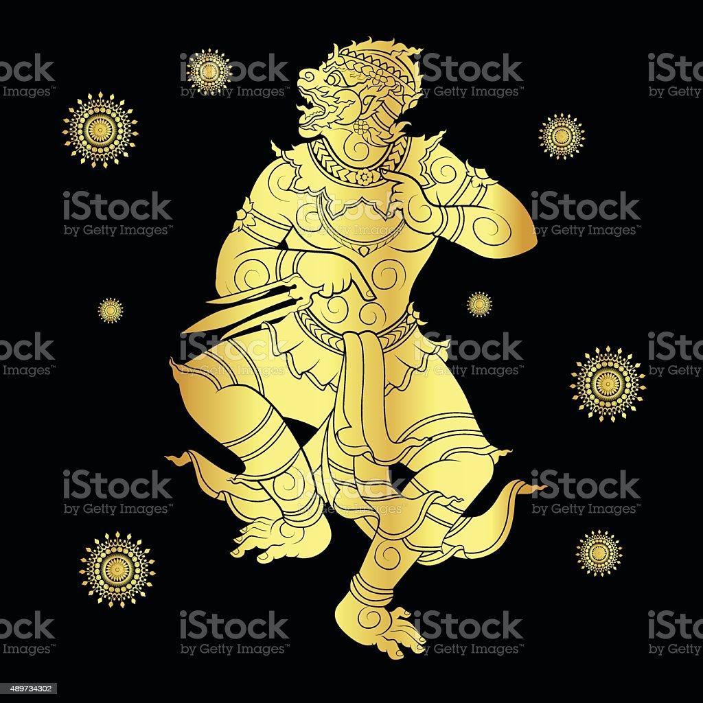 hanuman silhouetted in gold vector art illustration