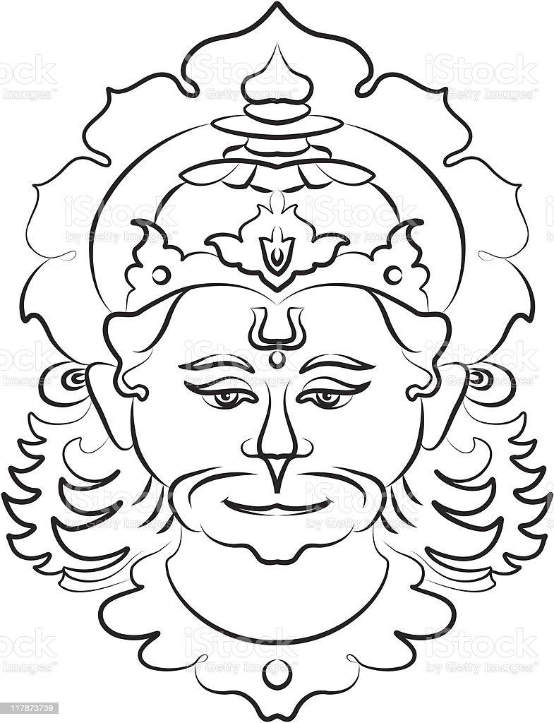 Hanuman the hindu ape (Monkey) god royalty-free stock vector art