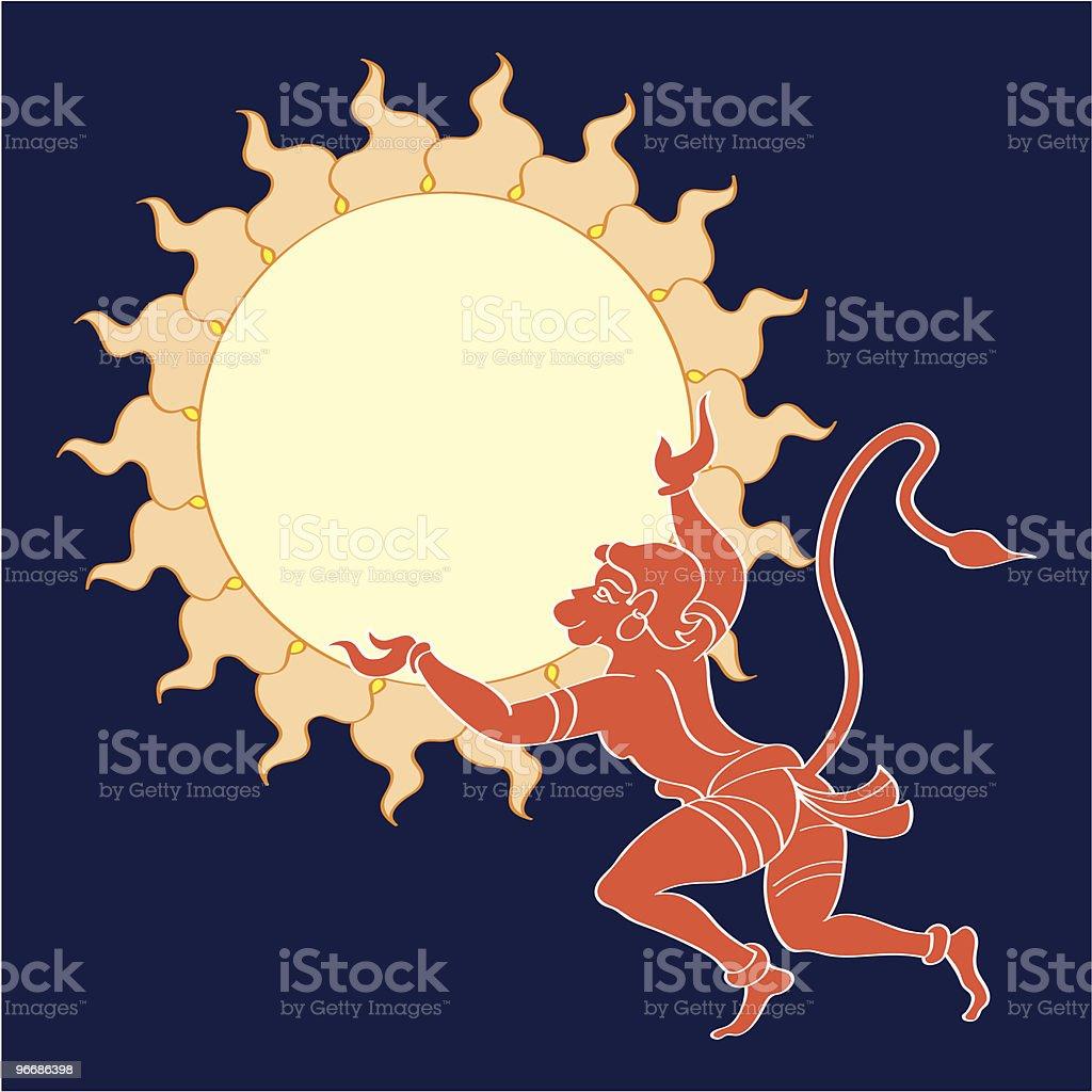 Hanuman the hindu ape (Monkey) god vector art illustration