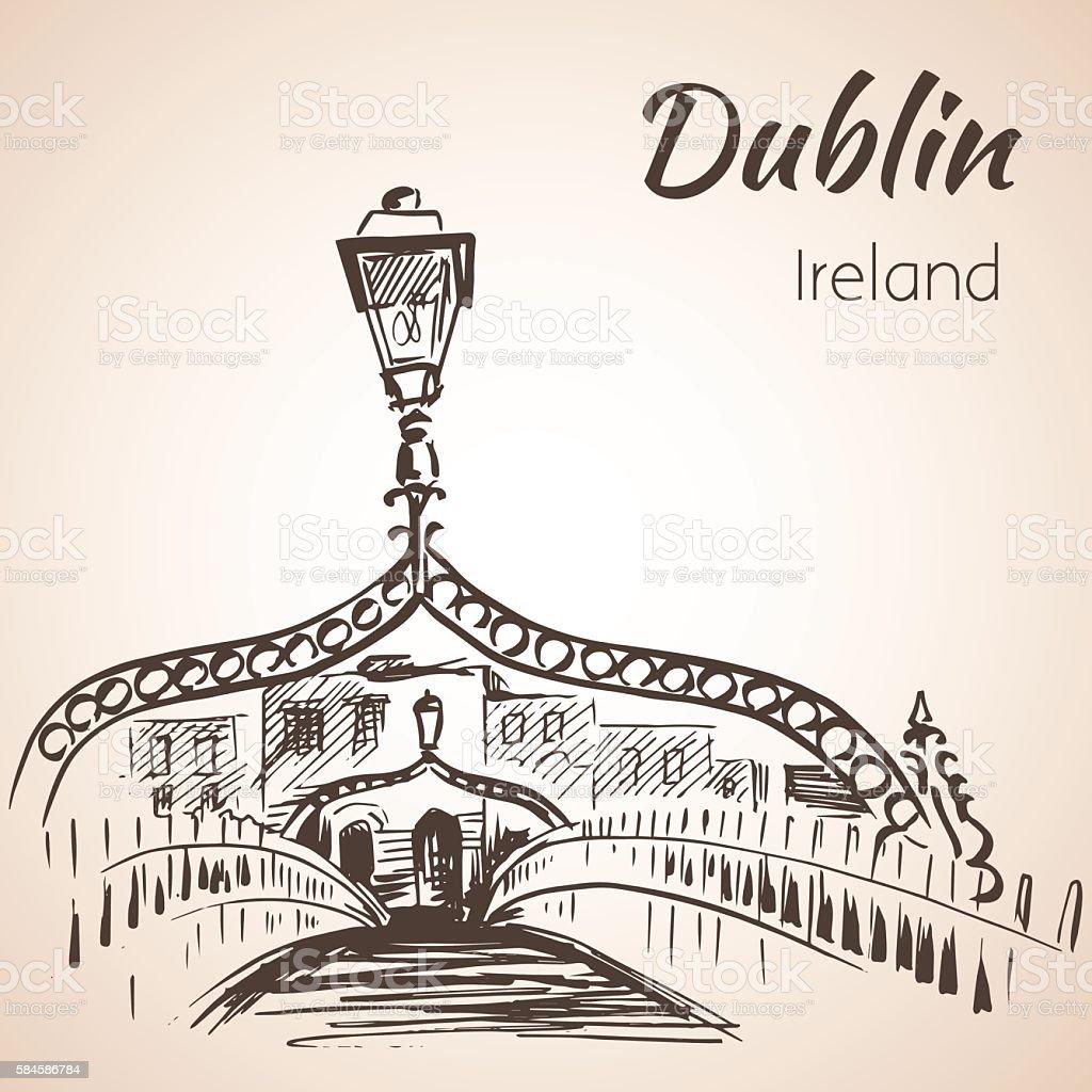 Ha'penny Bridge, Dublin, Ireland. vector art illustration