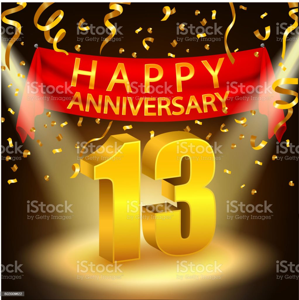 Happy 13th Anniversary celebration with golden confetti and spotlight vector art illustration