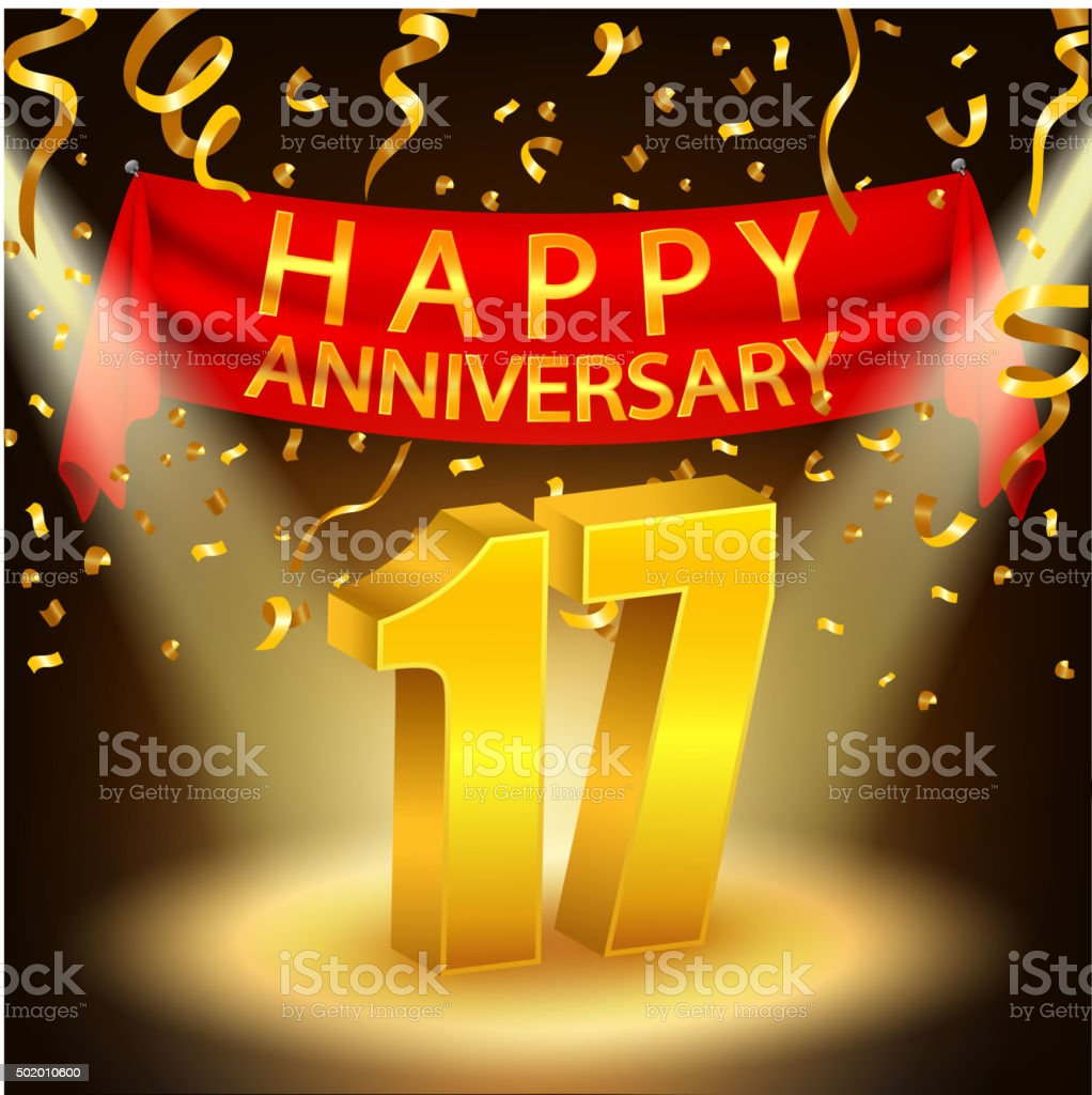 Happy 17th Anniversary celebration with golden confetti and spotlight vector art illustration