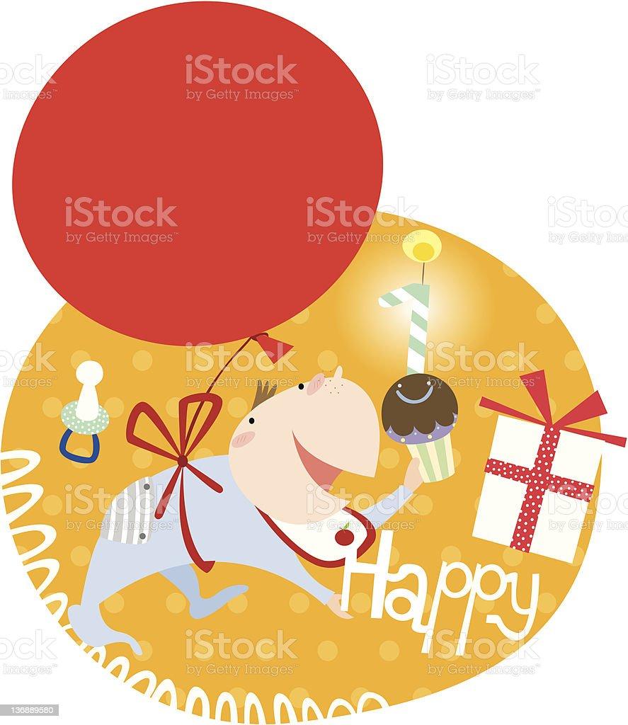 happy 1st birthday! royalty-free stock vector art