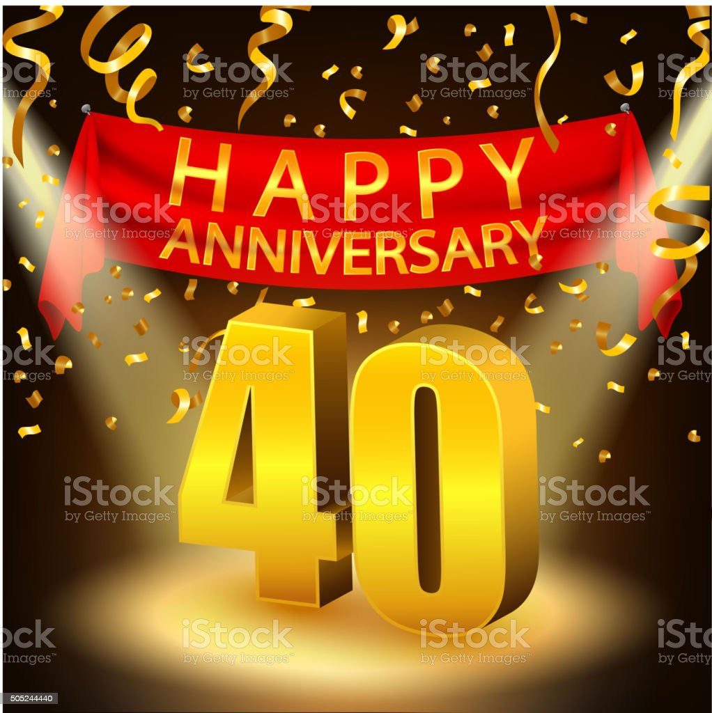 Happy 40th Anniversary celebration with golden confetti and vector art illustration