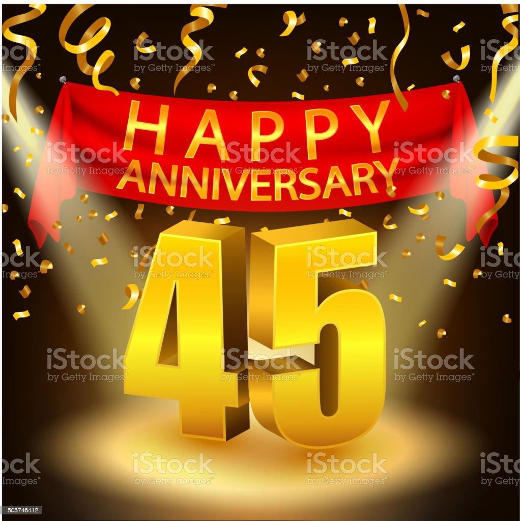 Happy 45th Anniversary celebration with golden confetti and spotlight vector art illustration