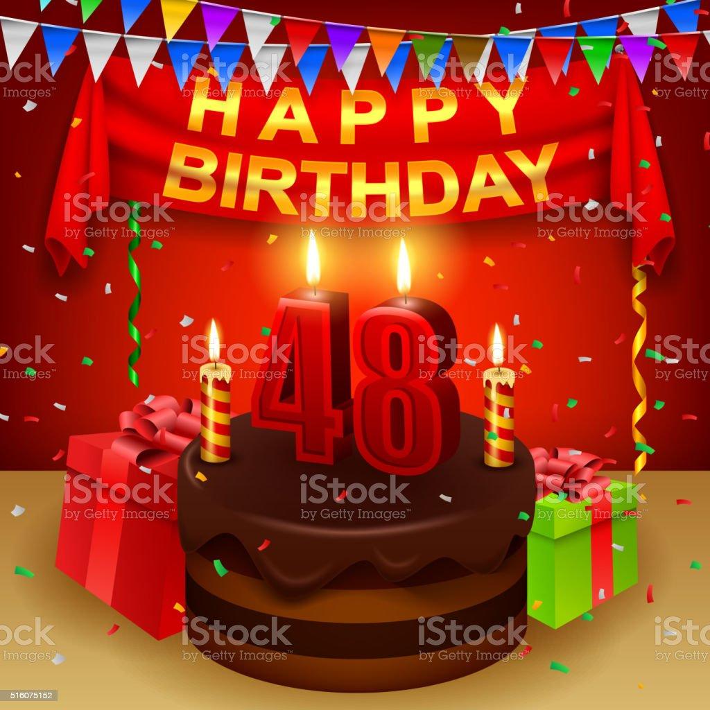 Happy 48th Birthday with chocolate cream cake and triangular flag vector art illustration
