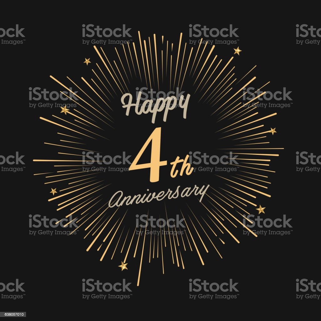 Happy 4th Anniversary with fireworks and star vector art illustration