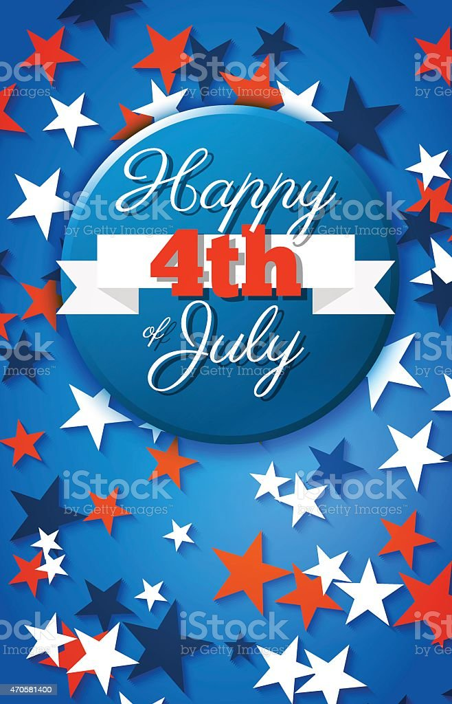 Happy 4th of July card, national american holiday Independence d vector art illustration