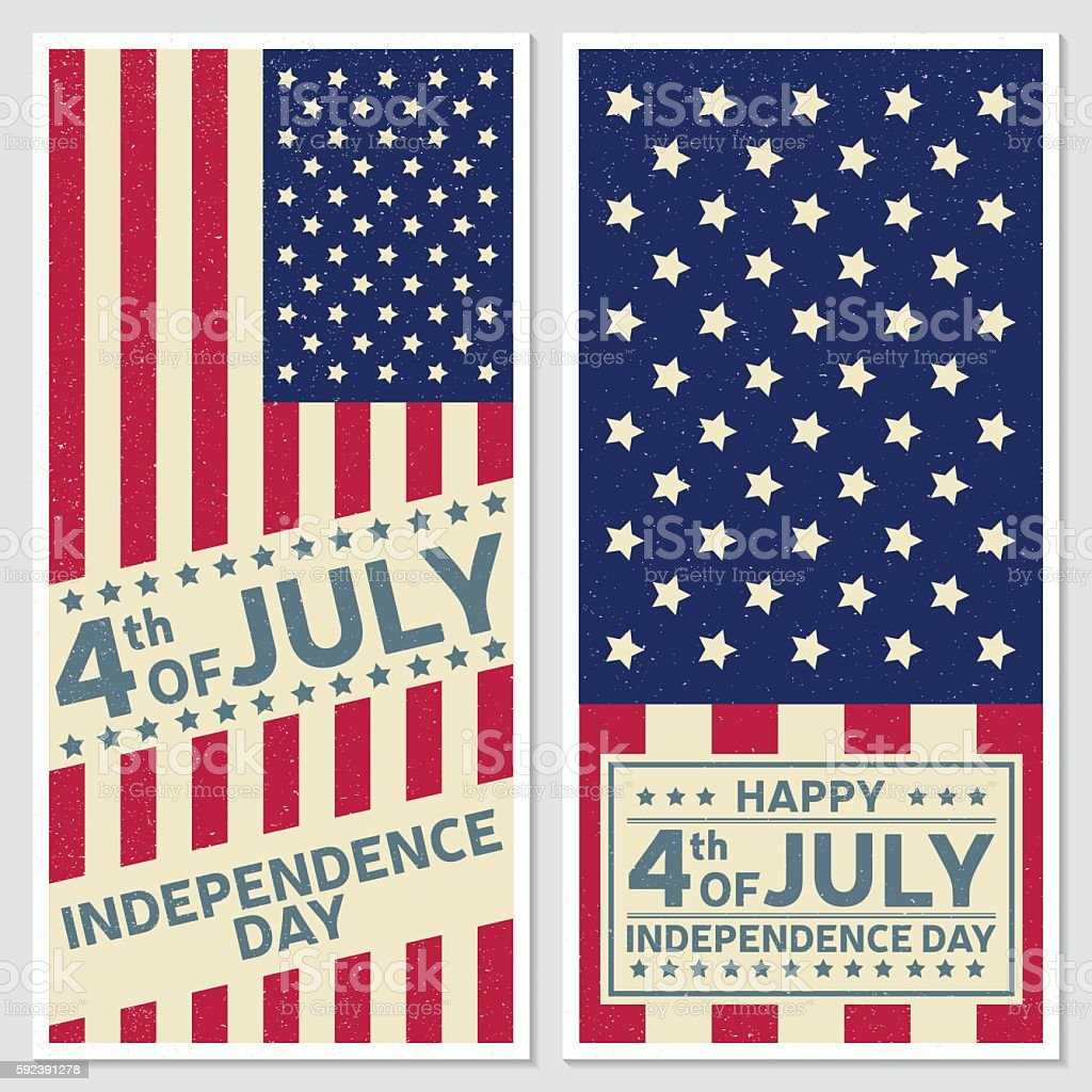 Happy 4th of july, Independence day greeting card, flyer. vector art illustration