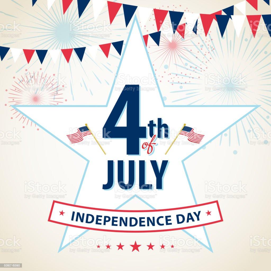Happy 4th of July vector art illustration