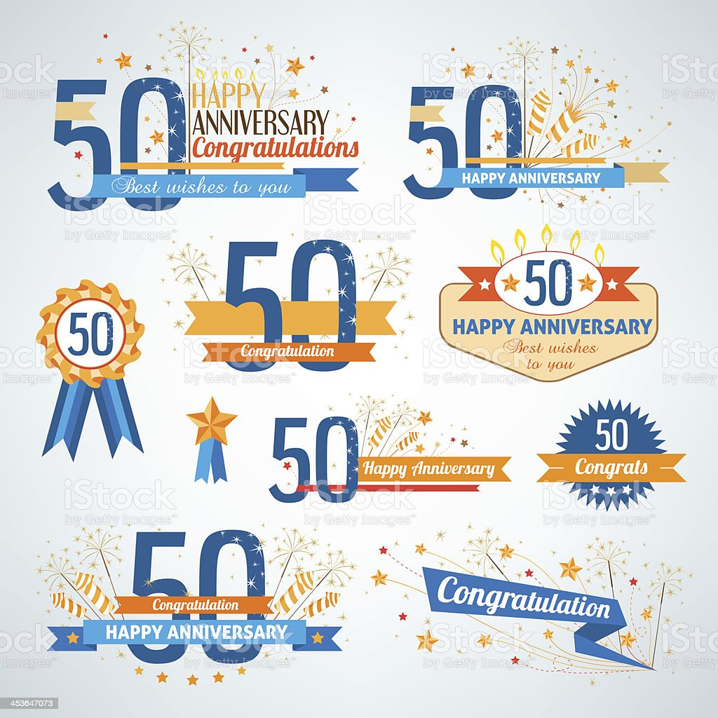 Happy 50th anniversary design elements with ribbons vector art illustration
