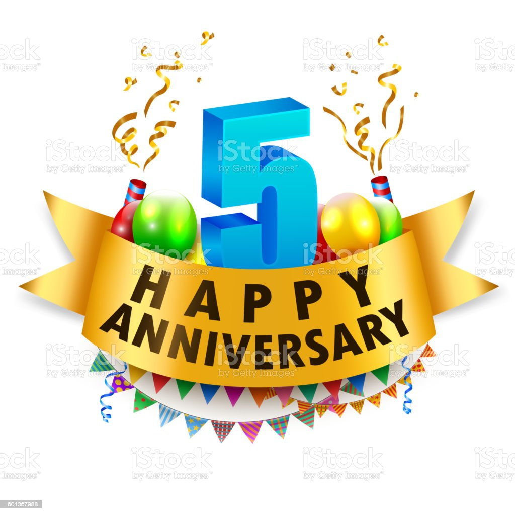 Happy 5th Anniversary Celebration vector art illustration