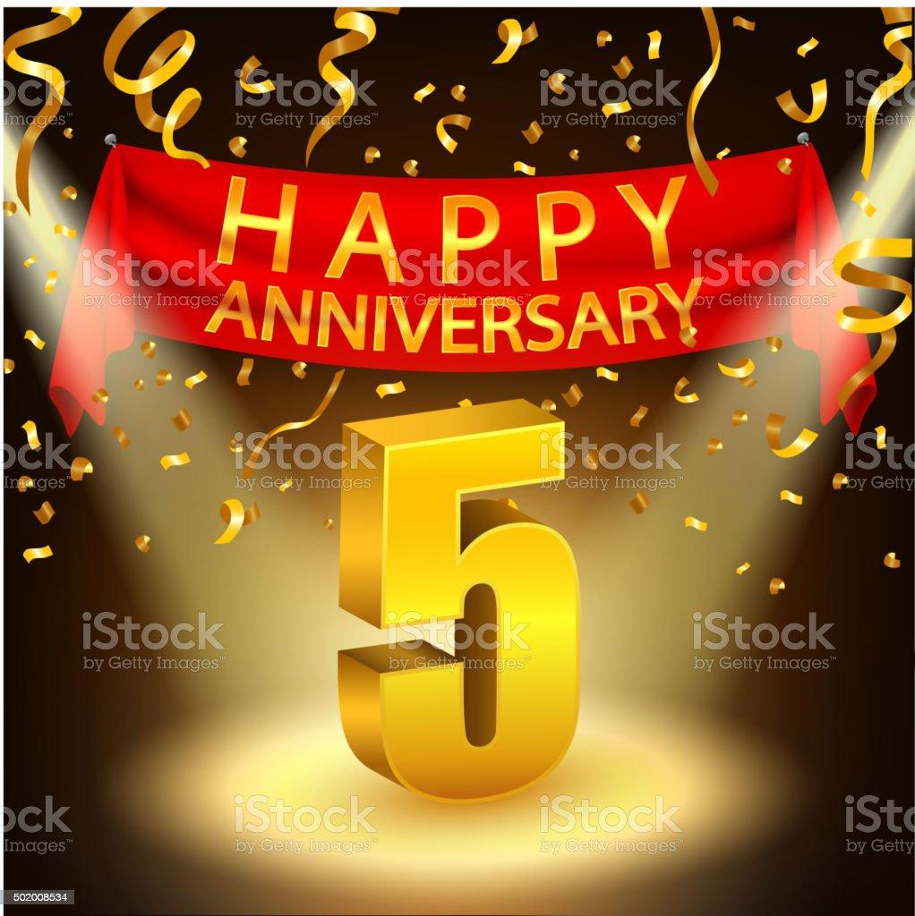 Happy 5th Anniversary celebration with golden confetti and spotlight vector art illustration