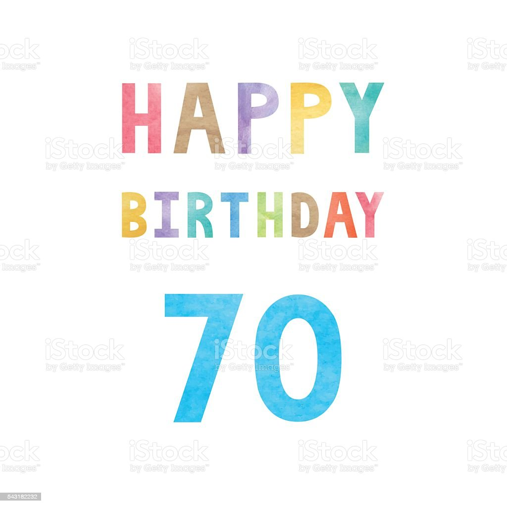 Happy 70th birthday anniversary card vector art illustration