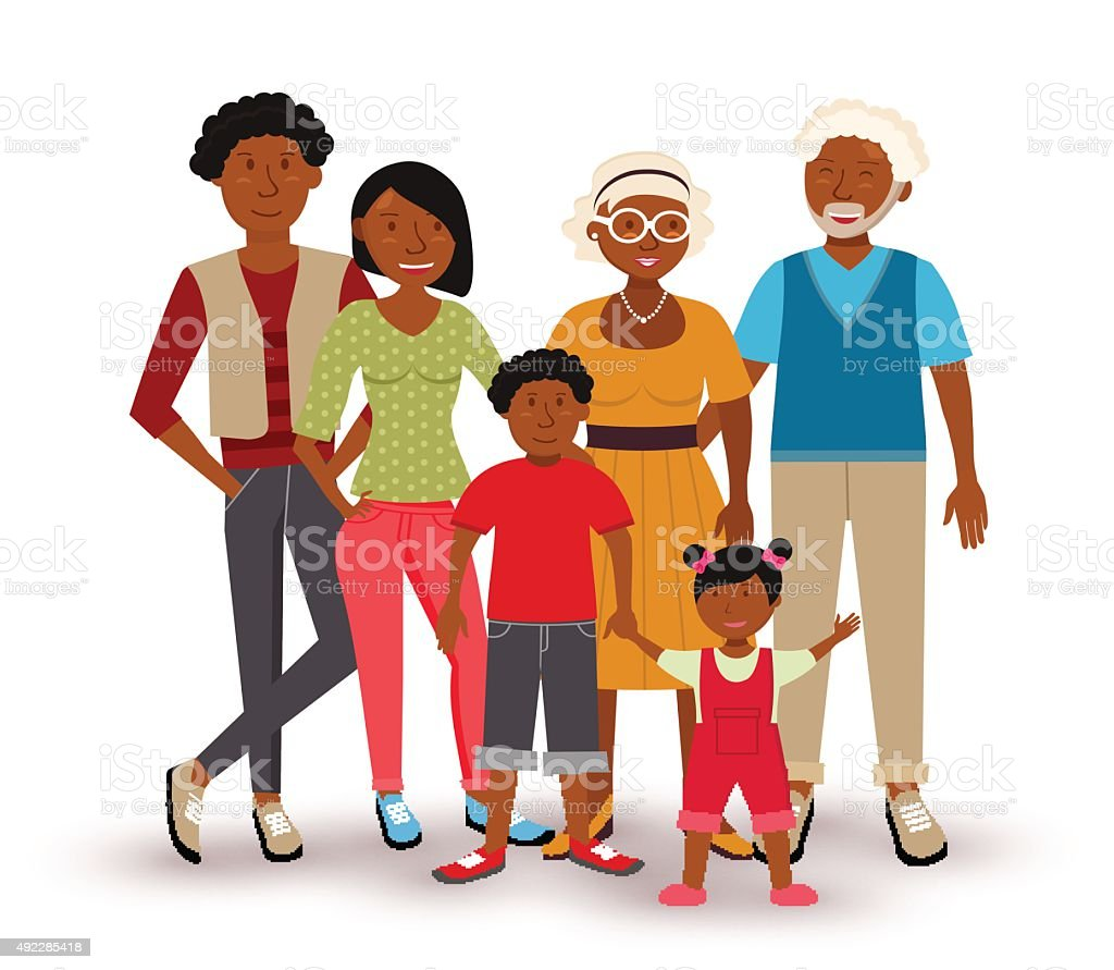 Happy African American family illustration vector art illustration