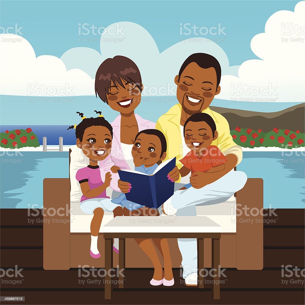 Happy African American Family vector art illustration