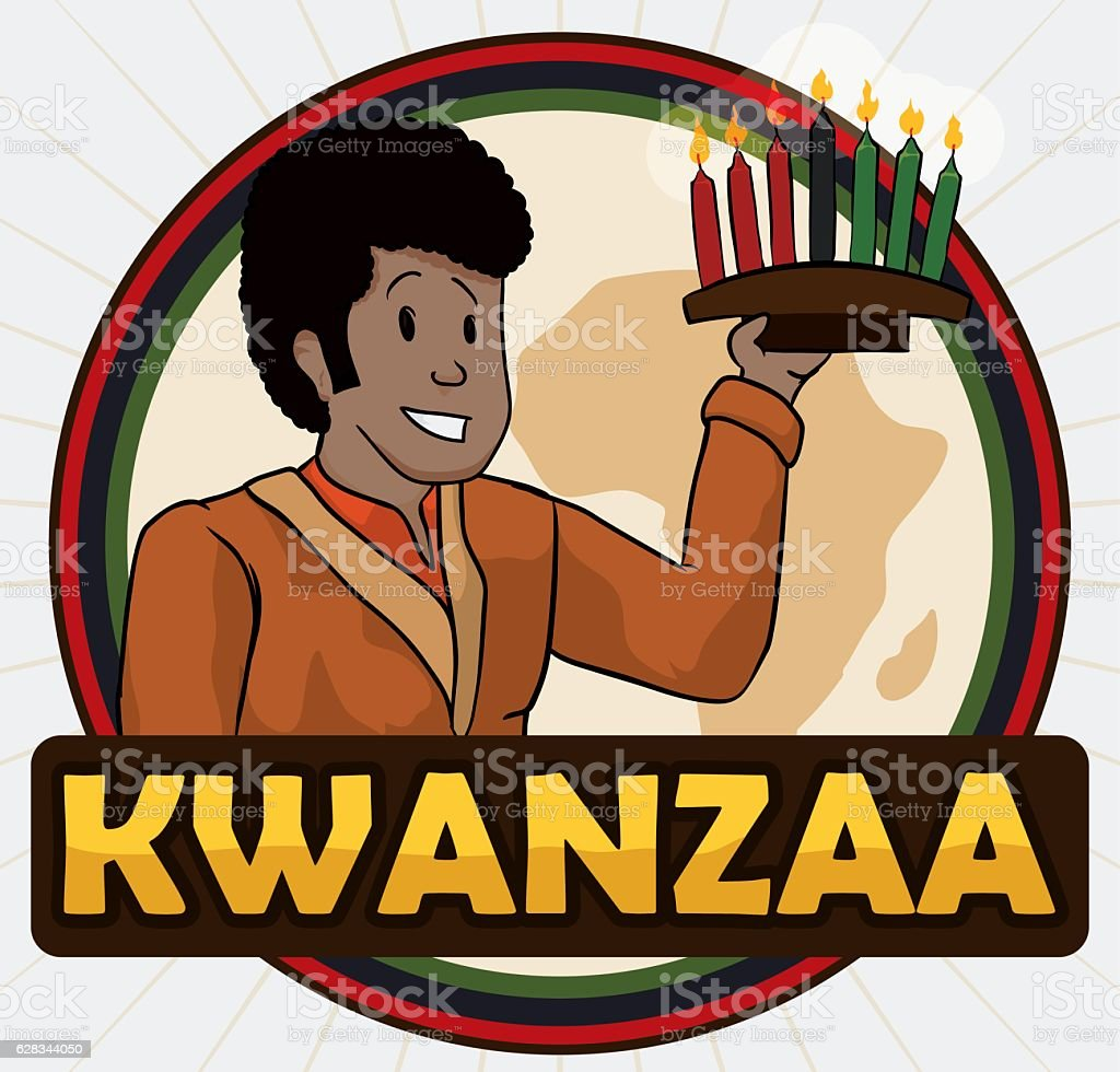 Happy Afro-American Man Holding a Kinara for Kwanzaa vector art illustration
