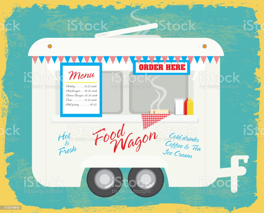 Happy and cute Food wagon trailer on a retro texture vector art illustration