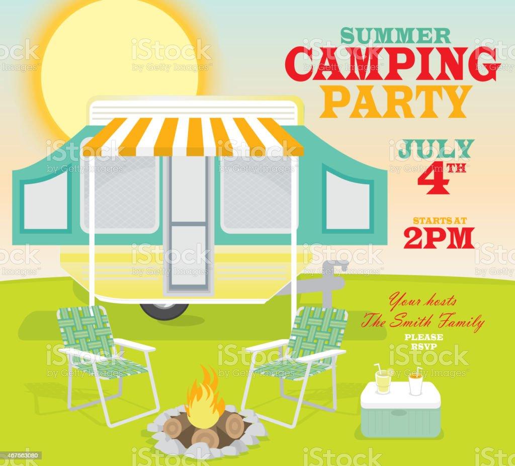 Happy and cute retro Campground trailer camping scene invitation design vector art illustration