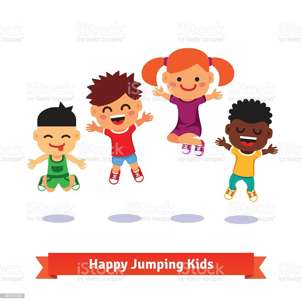 Happy and excited jumping kids vector art illustration