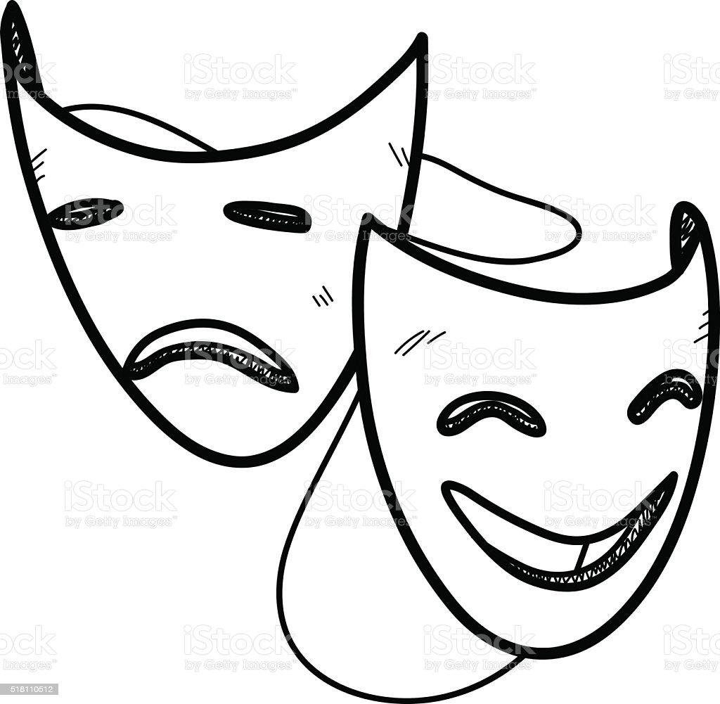 Happy and Sad Mask Doodle vector art illustration