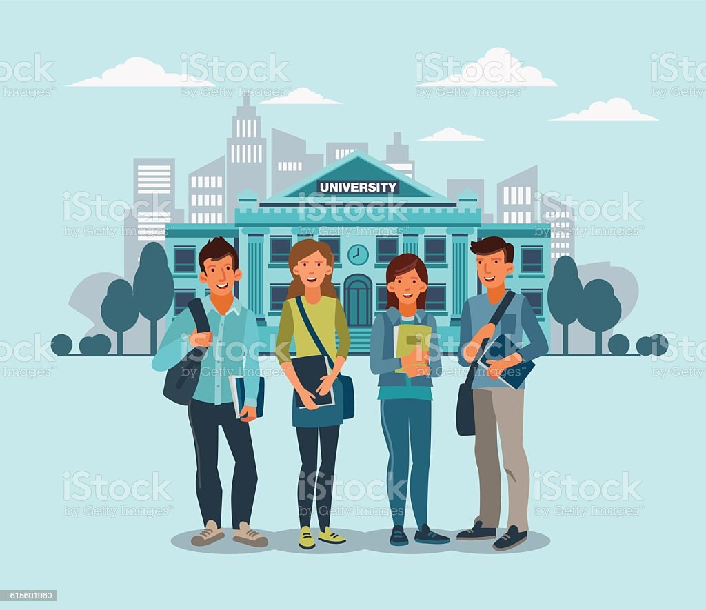 Happy and smiling group of students standing with notebooks vector art illustration