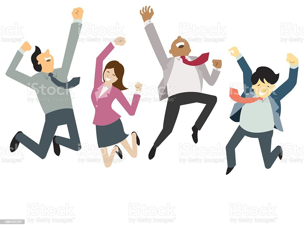 happy and success businesspeople vector art illustration