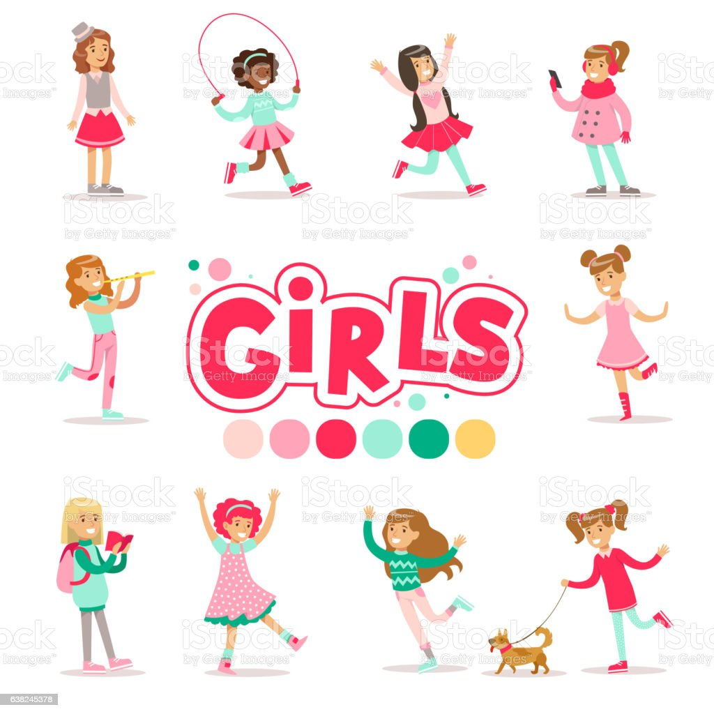 Happy And Their Expected Classic Behavior With Girly vector art illustration