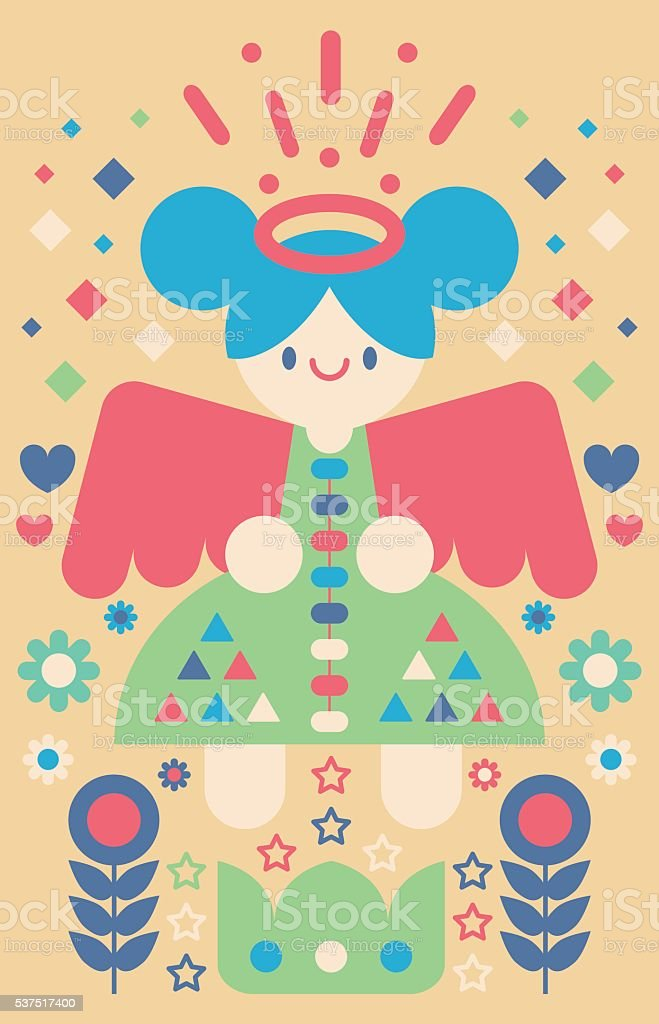 Happy Angel vector art illustration