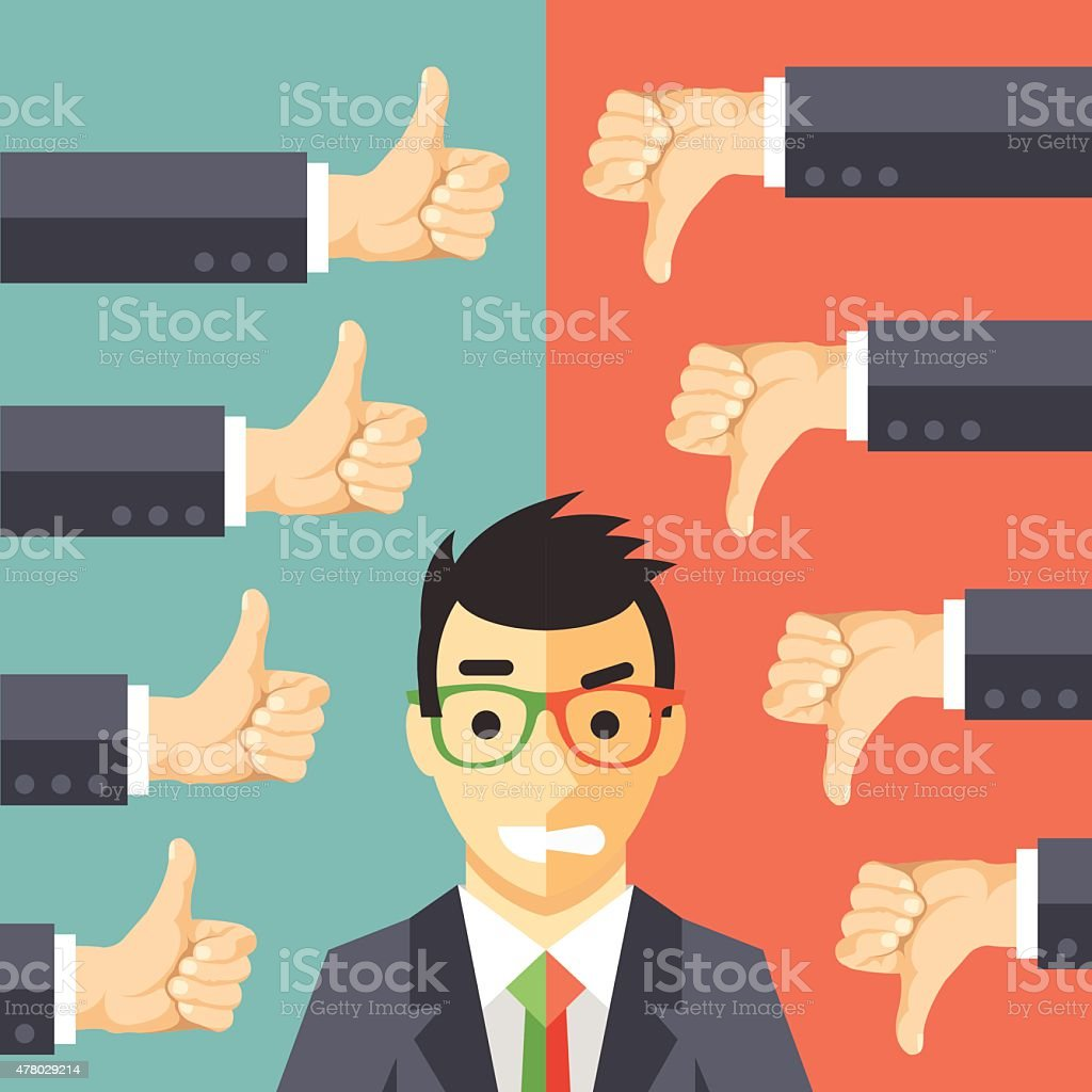 Happy angry businessman. Man in suit with different face expressions vector art illustration
