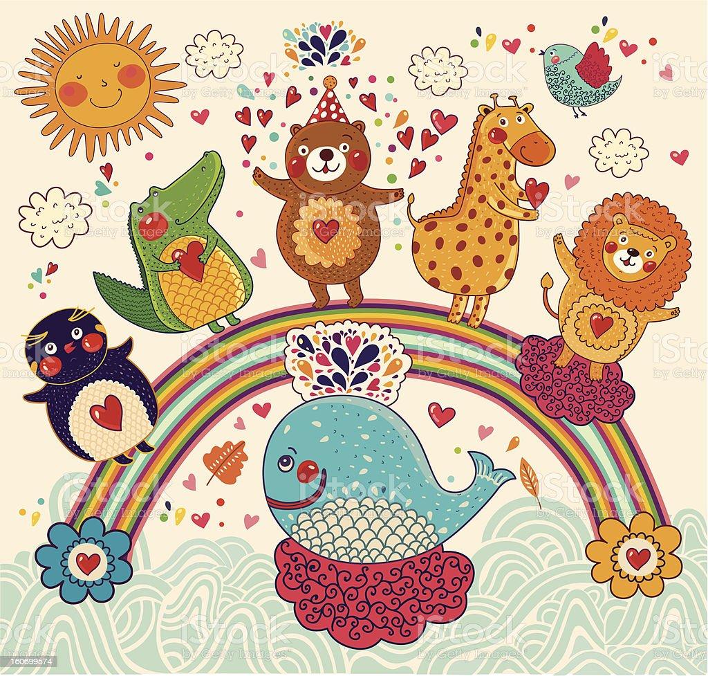 Happy animals royalty-free stock vector art