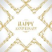 happy anniversary art deco background