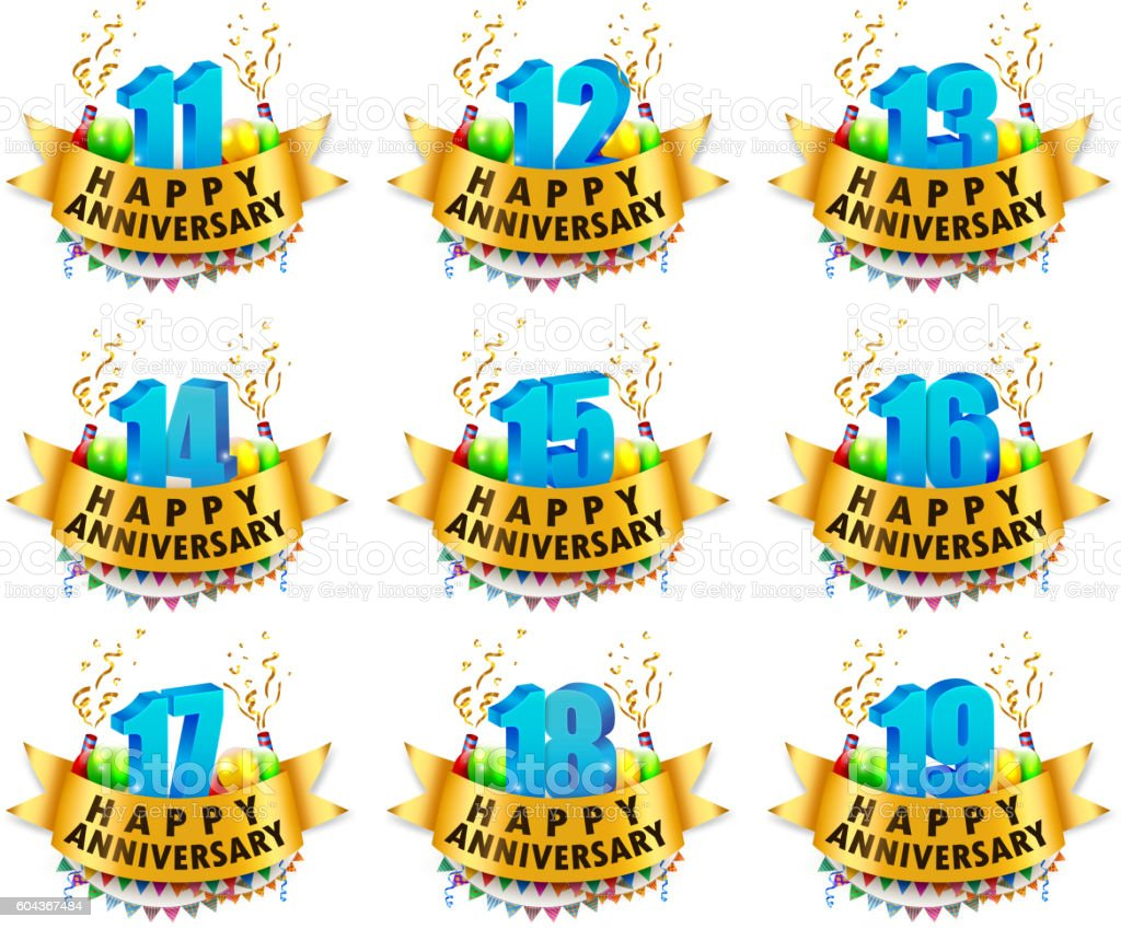 Happy Anniversary Celebration sets vector art illustration