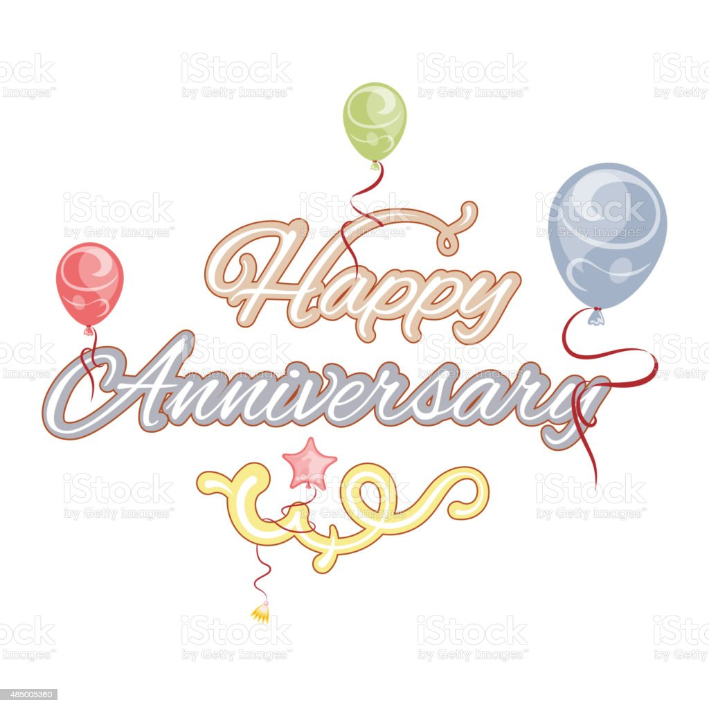Happy anniversary, isolated text vector art illustration
