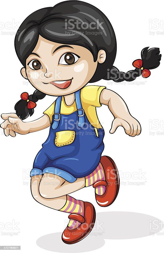 happy Asian girl dancing vector art illustration